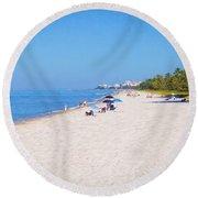 A Day At Naples Beach Round Beach Towel