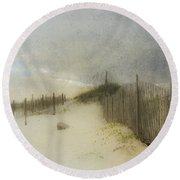 Round Beach Towel featuring the photograph A Day At The Beach by Betty LaRue