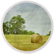 A Day At The Farm Round Beach Towel