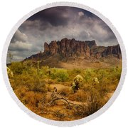 A Day At The Superstitions  Round Beach Towel