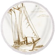 A Day On The Bay Round Beach Towel