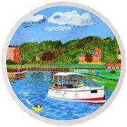 A Day On The River In Exeter Round Beach Towel