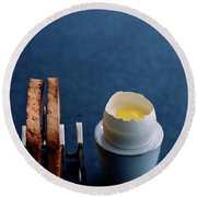 A Dessert Made To Look Like An Egg And Toast Round Beach Towel