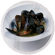 A Dish Of Mussels Round Beach Towel