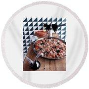 A Dish Of Paella Round Beach Towel