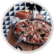 A Dish Of Paella Round Beach Towel