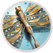 A Dragon Fly On My Wall Round Beach Towel