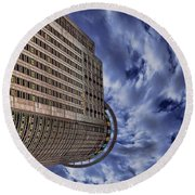 Round Beach Towel featuring the photograph A Drifting Skyscraper by Ron Shoshani