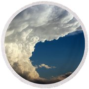 Round Beach Towel featuring the photograph A Face In The Clouds by Barbara Chichester