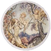 A Fairy Song From A Midsummer Nights Dream Round Beach Towel by Arthur Rackham