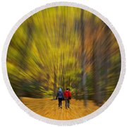 A Fall Stroll Taughannock Round Beach Towel by Jerry Fornarotto