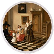 A Family In An Interior Round Beach Towel