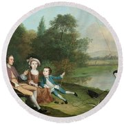 A Family Of Anglers, 1749 Oil On Canvas Round Beach Towel