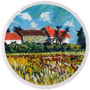 A Field In France Round Beach Towel