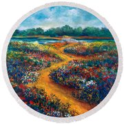 A Field Of Flowers And The Bridge Beyond Round Beach Towel