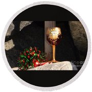Round Beach Towel featuring the photograph A Fine Beach Christmas by Laurie L
