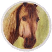 Round Beach Towel featuring the painting A Fine Horse by Xueling Zou