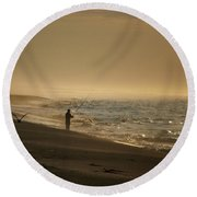 Round Beach Towel featuring the photograph A Fisherman's Morning by GJ Blackman