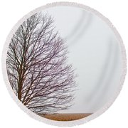 A Foggy Morning In Michigan Round Beach Towel by John McGraw