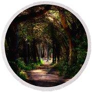 A Forest Path -dungeness Spit - Sequim Washington Round Beach Towel