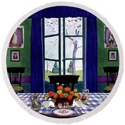 A French Provincial Dining Room Round Beach Towel
