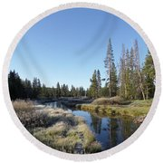 A Frosty Morning Along Obsidian Creek Round Beach Towel