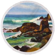 Round Beach Towel featuring the painting A Frouxeira Galicia by Pablo Avanzini
