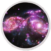 A Galactic Get-together Round Beach Towel