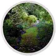 A Garden Path Round Beach Towel