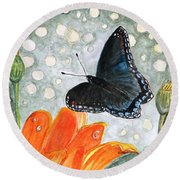 Round Beach Towel featuring the painting A Garden Visitor by Angela Davies