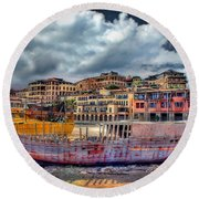 A Genesis Sunrise Over The Old City Round Beach Towel