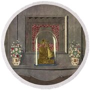 A Gilded Mantle Clock In A Bell Jar Round Beach Towel