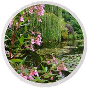 A Glimpse Of Monet's Pond At Giverny Round Beach Towel