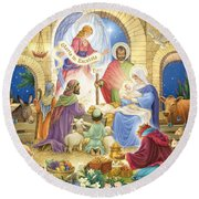 A Glorious Nativity Round Beach Towel