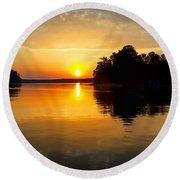 A Golden Moment Round Beach Towel