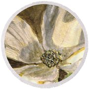 A Golden Moment Of Spring Round Beach Towel by Angela Davies