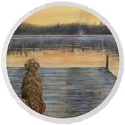 Round Beach Towel featuring the painting A Golden Moment by Susan DeLain