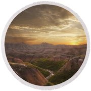 A Good Sunrise In The Badlands Round Beach Towel
