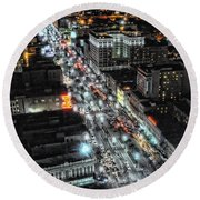 A Gothic Night In New Orleans On Canal Street Round Beach Towel