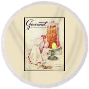 A Gourmet Cover Of A Cake Round Beach Towel