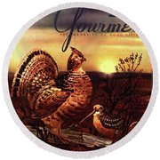 A Gourmet Cover Of A Turkey Round Beach Towel