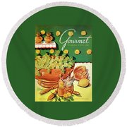 A Gourmet Cover Of Dandelion Salad Round Beach Towel