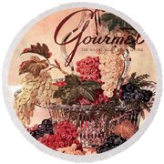 A Gourmet Cover Of Grapes Round Beach Towel