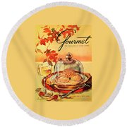 A Gourmet Cover Of Mushrooms On Toast Round Beach Towel