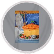 A Gourmet Cover Of Pate En Croute Round Beach Towel