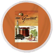A Gourmet Cover Of Turtle Soup Ingredients Round Beach Towel