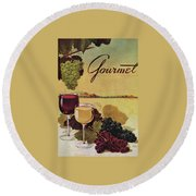 A Gourmet Cover Of Wine Round Beach Towel by Henry Stahlhut
