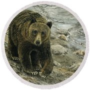 A Grey And Grizzly Day Round Beach Towel