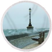 A Grey Wet Day By The Sea Round Beach Towel