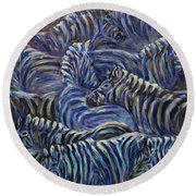 Round Beach Towel featuring the painting A Group Of Zebras by Xueling Zou